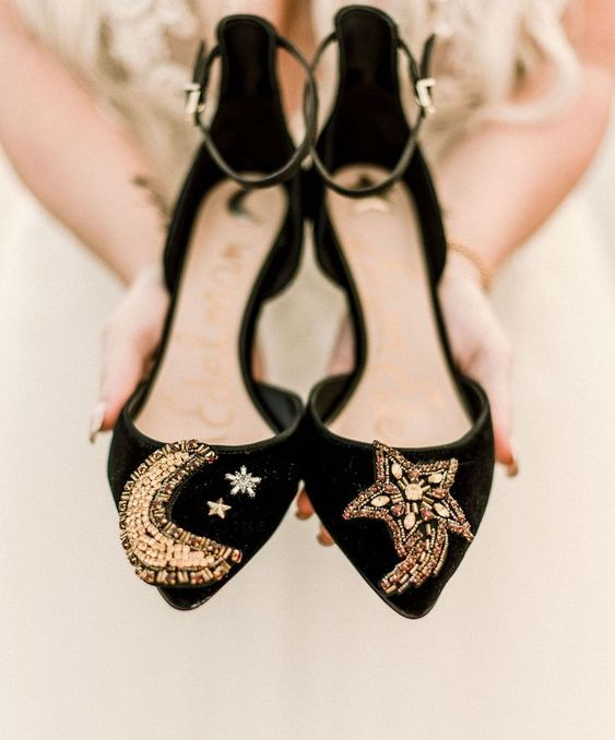 black velvet shoes with gold detailing and beading - stars and a moon