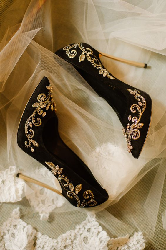 gorgeous black velvet heels with gold embellishments and embroidery