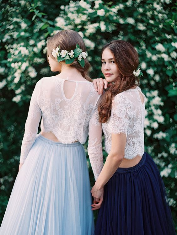 delicate white lace top tops with long or short sleeves and blue and navy tulle A-line skirts