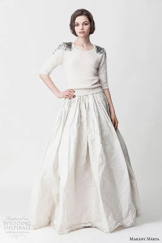 a neutral sweater with embellished shoulders is gorgeous enough to be a part of your bridal separate