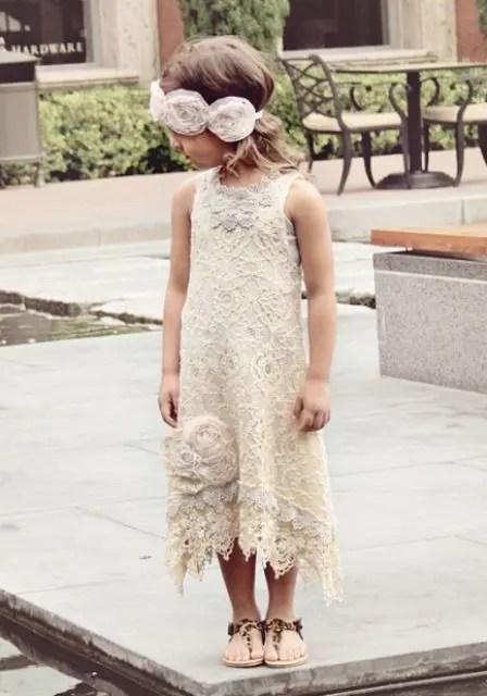 a sleeveless sheath boho lace high low midi dress and sandals