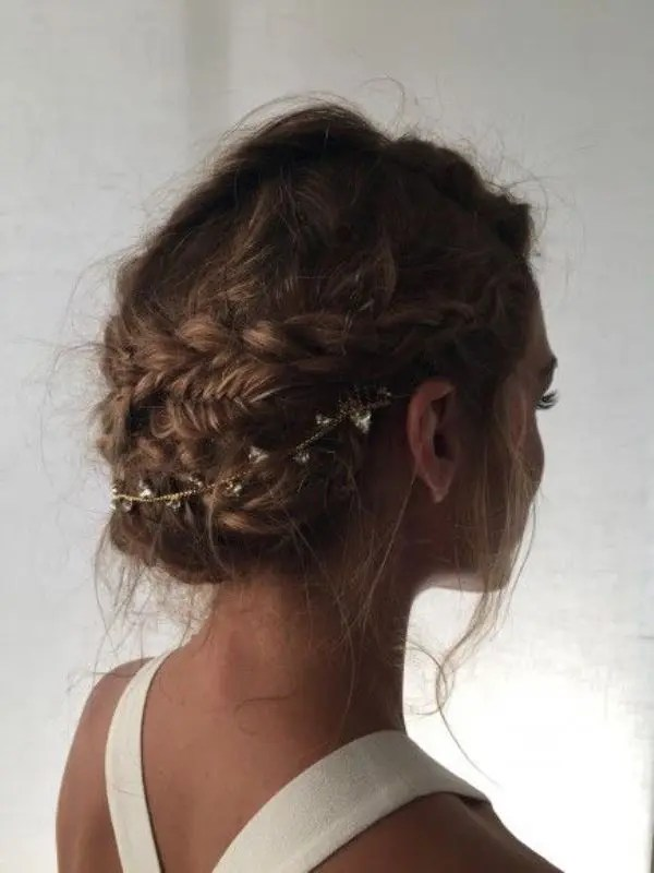 a braided and messy updo with curls is a chic idea, a rhinestone hair vine will make it amazing