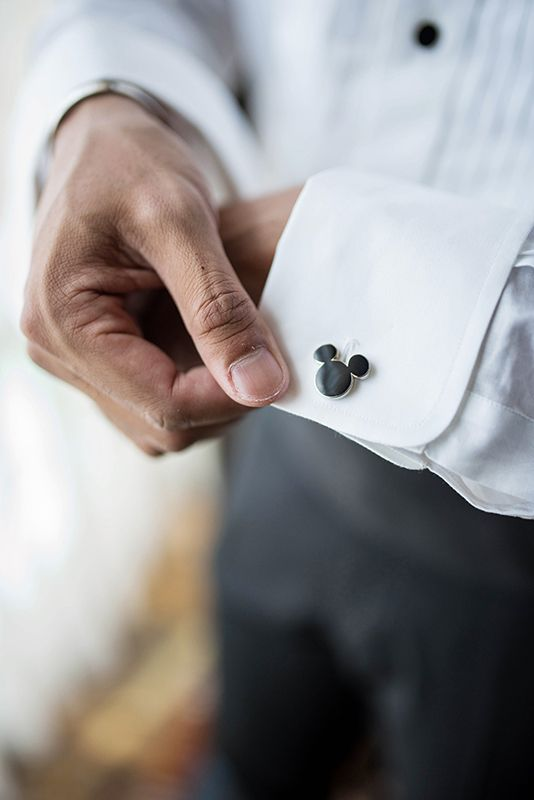 Mickey Mouse cufflinks for a Disneyland groom - a small accessory with a big impact