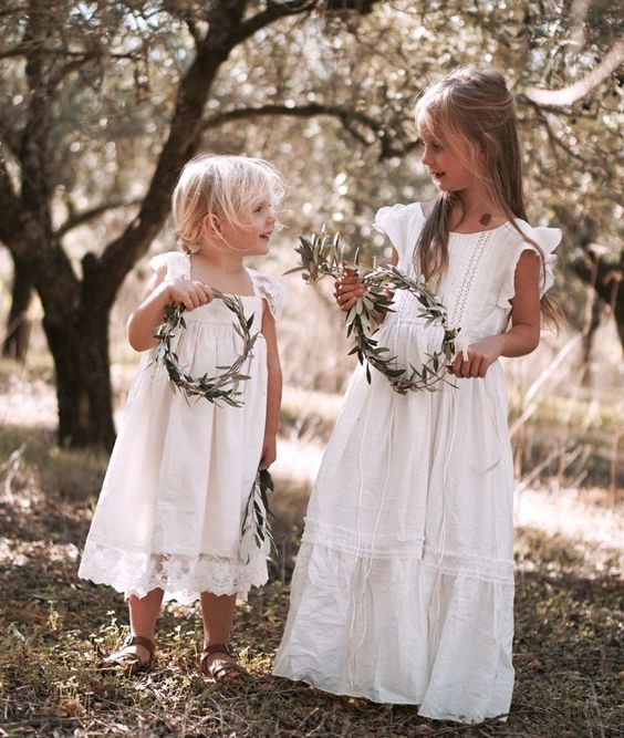 vintage boho sleeveless dresses with boho lace and various necklines plus greenery crowns