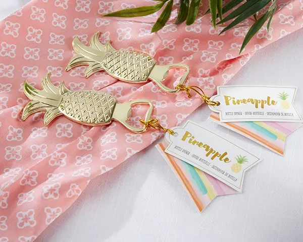 gold pineapple keychains with tags can be a nice idea of your tropical bridal shower favors