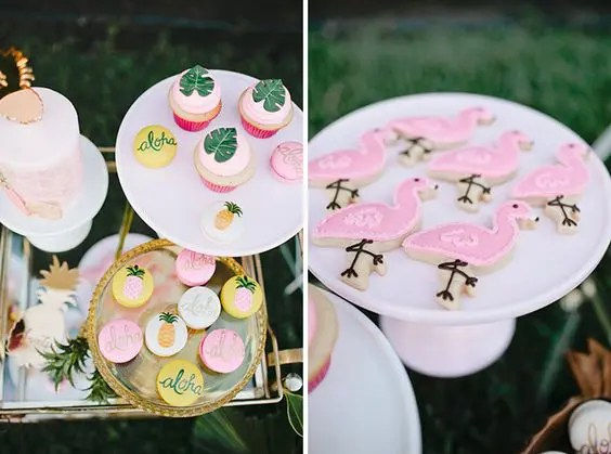 tropical-themed desserts, flamingo and fruit painted cookies and tropical leaf cupcakes