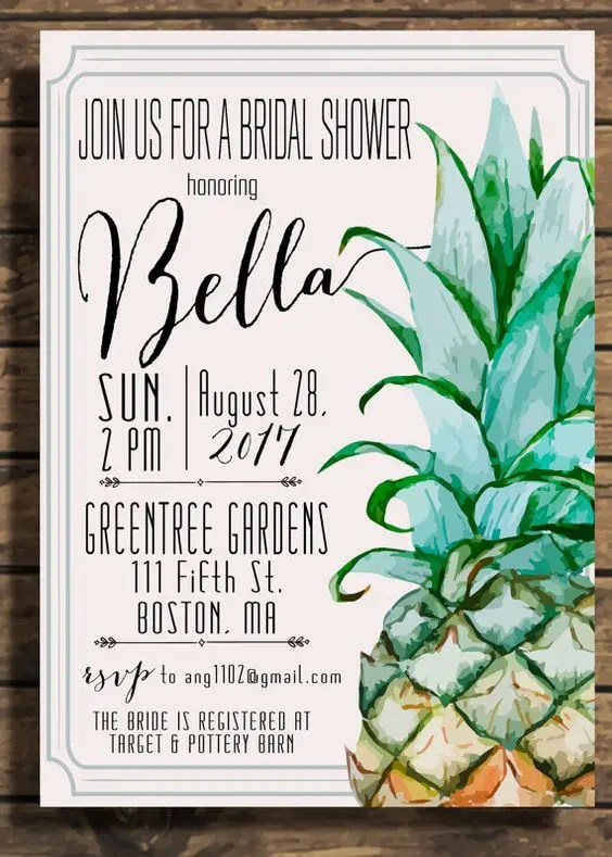 a fun watercolor painted bridal shower invitation with a pineapple and frames