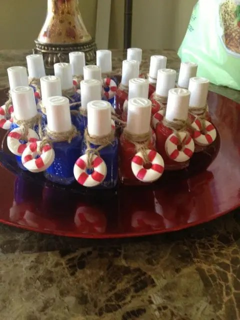 blue and red nail polish with tiny and colorful life savers that add a cool nautical feel to the favors