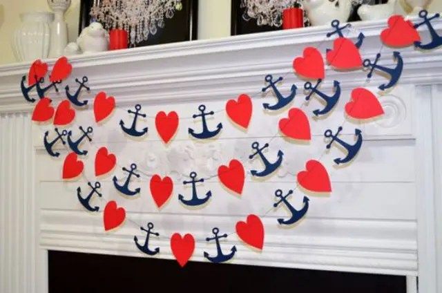 heart and anchor garlands can be easily DIYed to decorate your nautical bridal shower