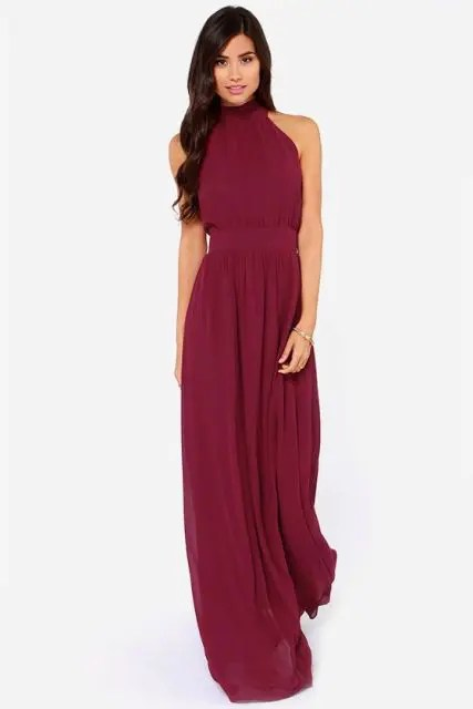 Classic marsala maxi bridesmaid dress