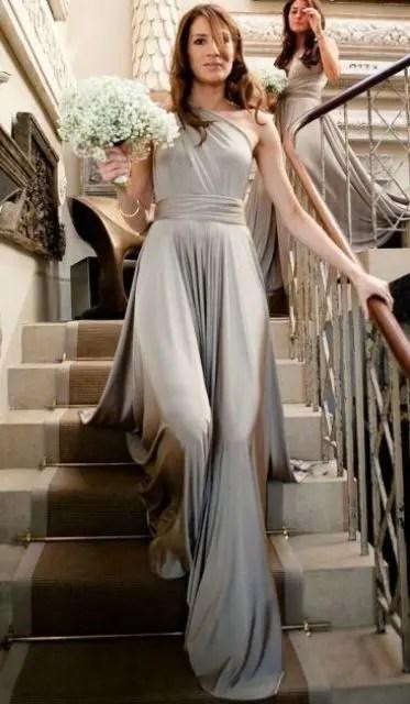 Flowing one shoulder dress for bridesmaids