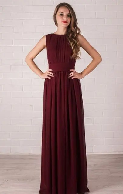 Flowy burgundy maxi dress