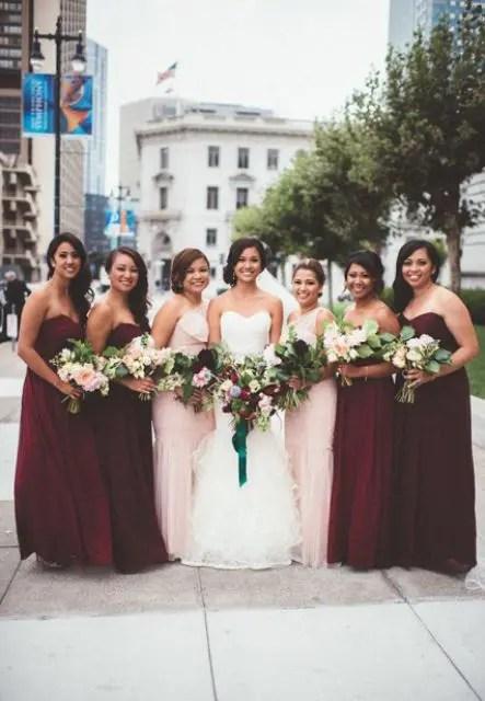 Strapless marsala maxi bridesmaid dresses