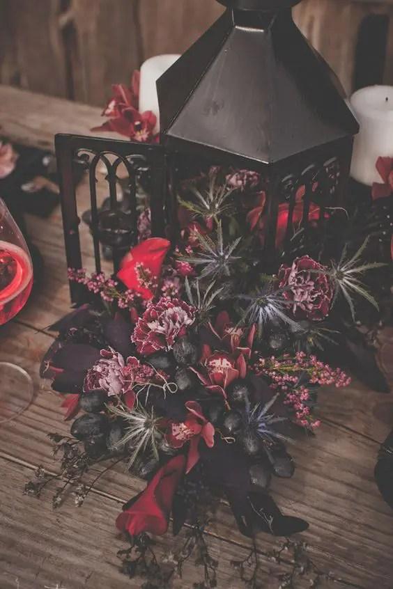 lush Tim Burton wedding centerpiece with grapes