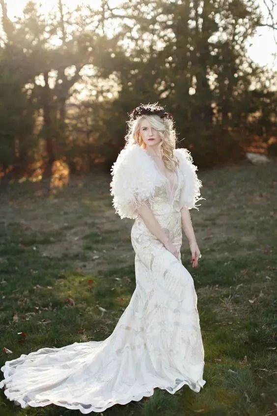 white faux fur and a glitter applique dress