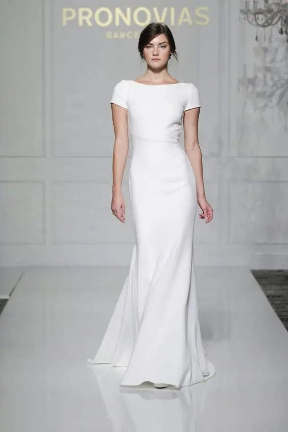 sheath short sleeve simple wedding dress for a minimalist bride