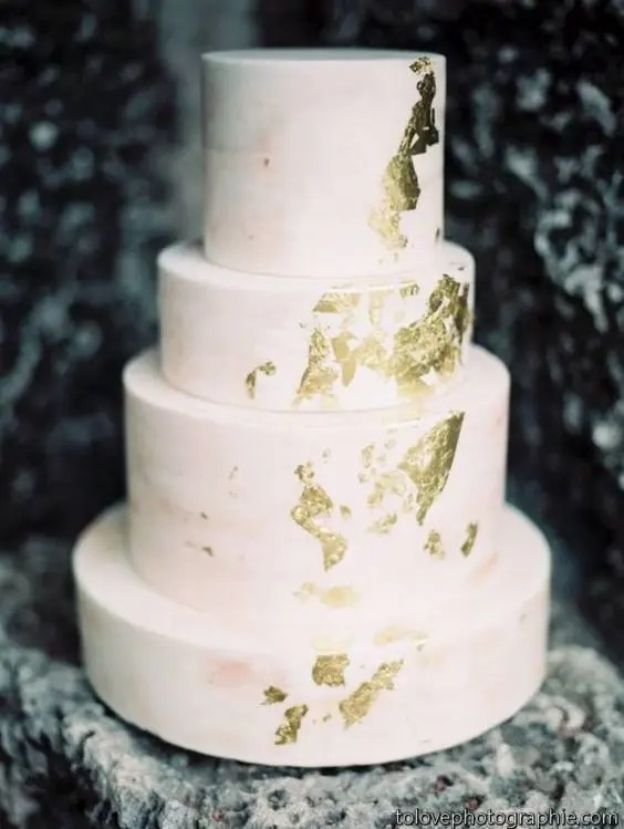 blush gold leaf wedding cake for a modern celebration