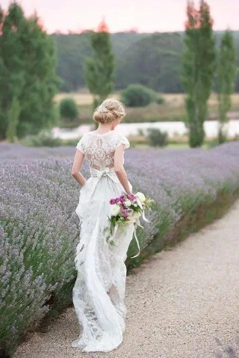 bride in the lavender fields