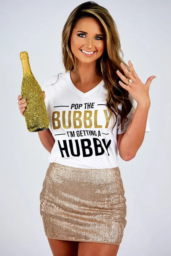 cheerful printed t-shirt and a metallic sequin mini
