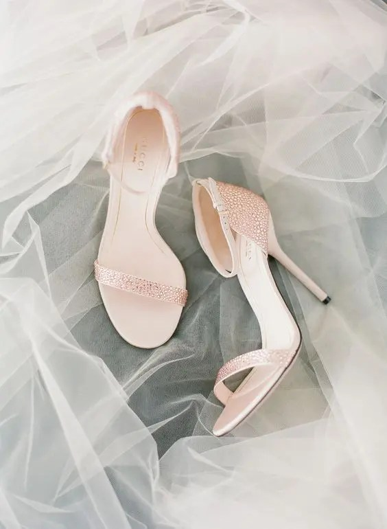 blush crystal strap wedding shoes by Gucci
