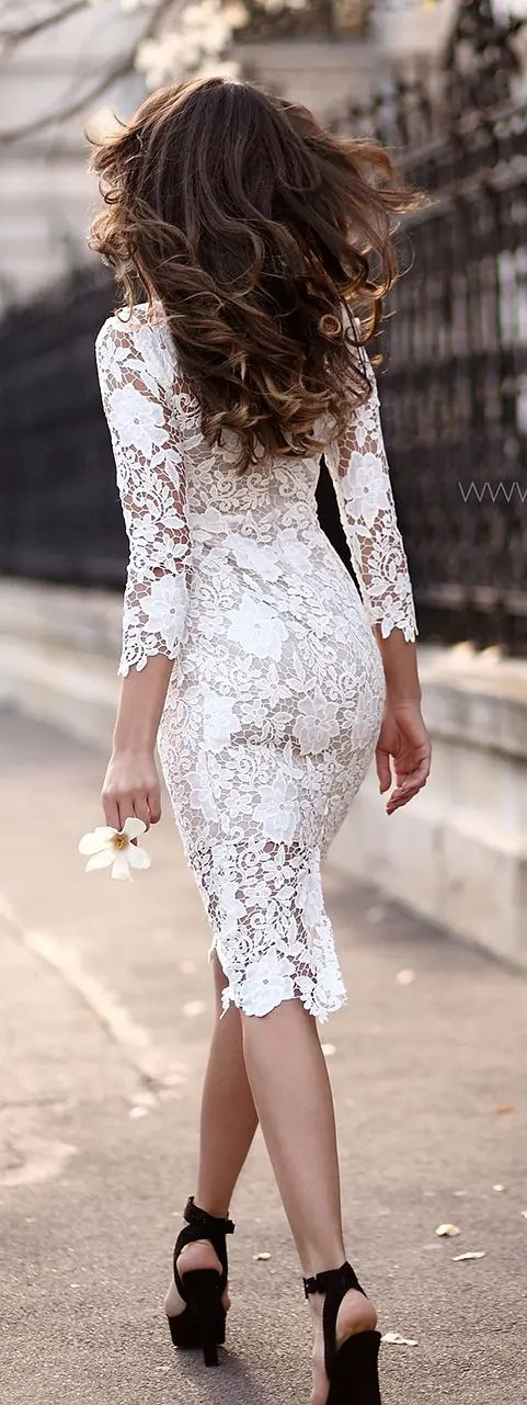 adorable white lace midi dress with half sleeves and black velvet heels