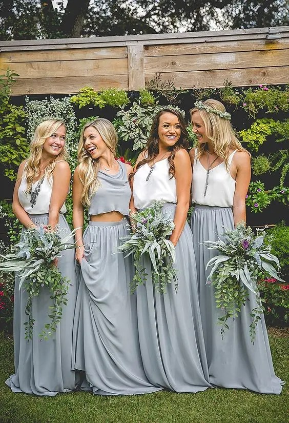 grey chiffon maxi skirts and white tops, a grey crop top for the maid of honor