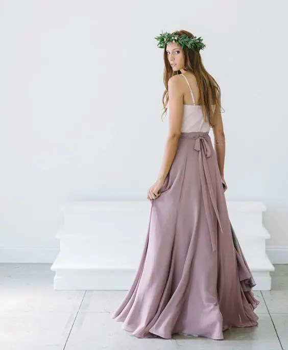 ethereal lavender-color maxi skirt and a white spaghetti strap top