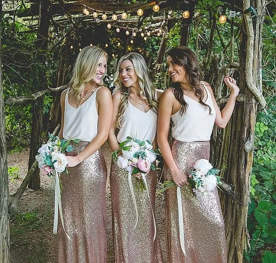 rose gold sequin maxi skirts and strap white tops