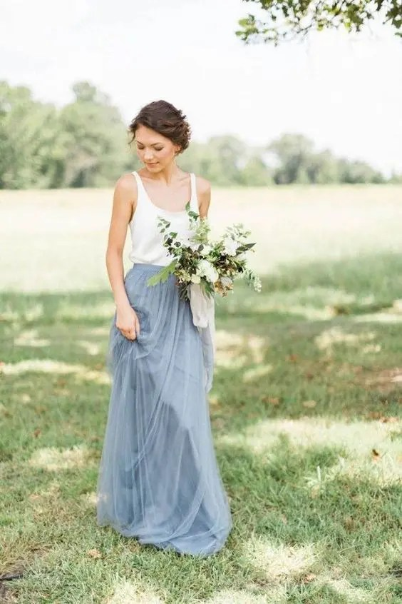 silver grey tulle maxi skirt and a white strap top
