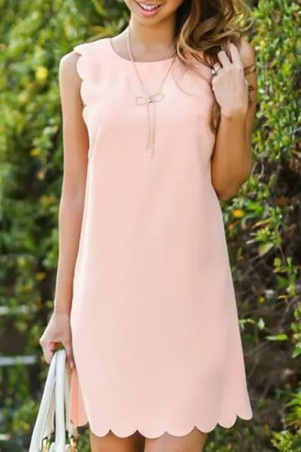 plain blush mini dress with a scalloped hem
