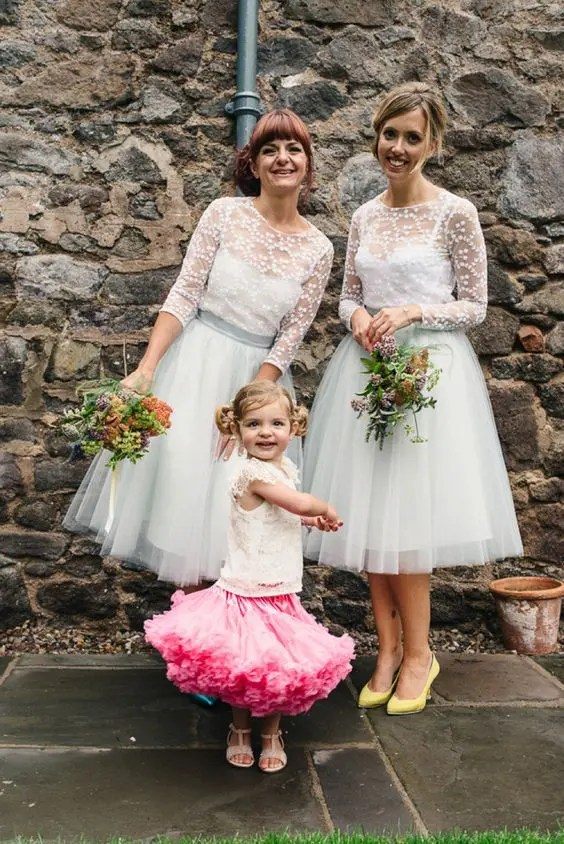 dove grey tulle layed midi skirts and white lace tops with half sleeves