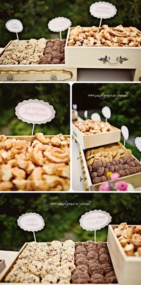 display cookies in vintage-looking drawers for a chic look