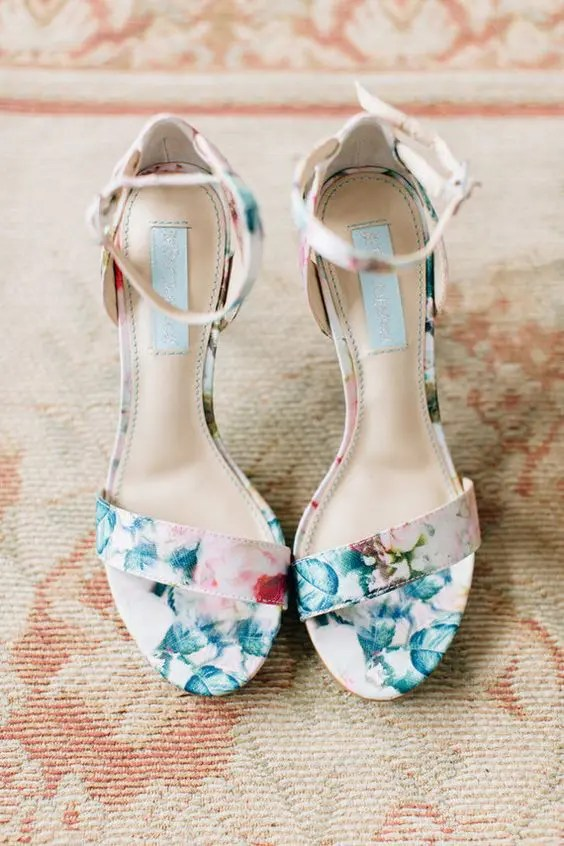 floral BHLDN bridal shoes with ankle straps