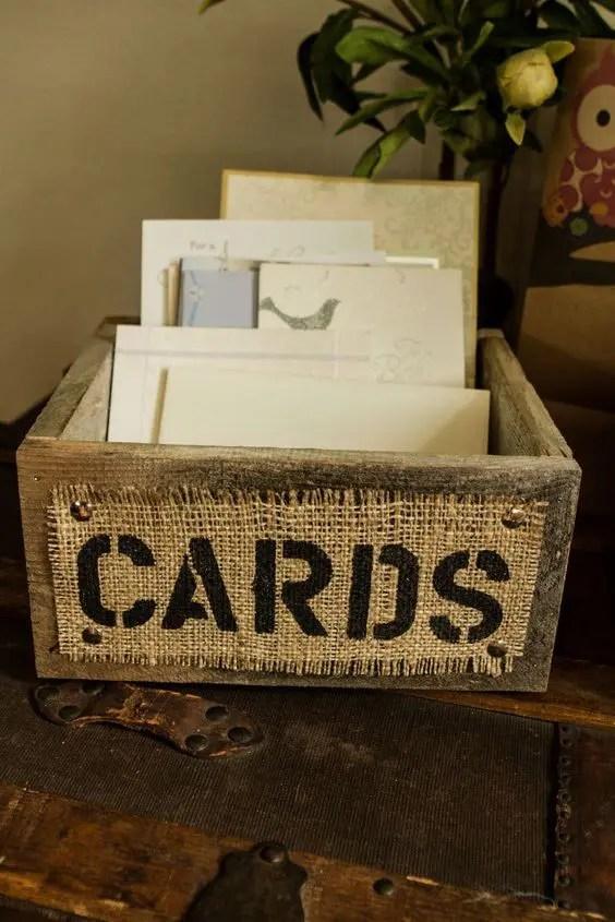 reclaimed wood and burlap card box