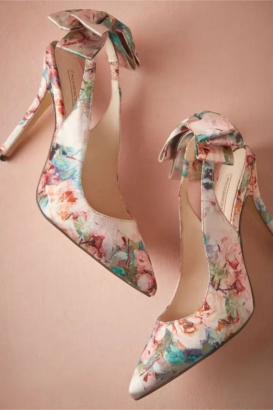 colorful flower pumps from BHLDN with bows