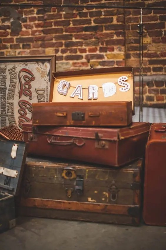 vintage suitcase with a letter banner is an easy solution