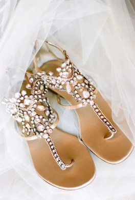 heavily embellished sandals are a great glam choice for a comfy feel
