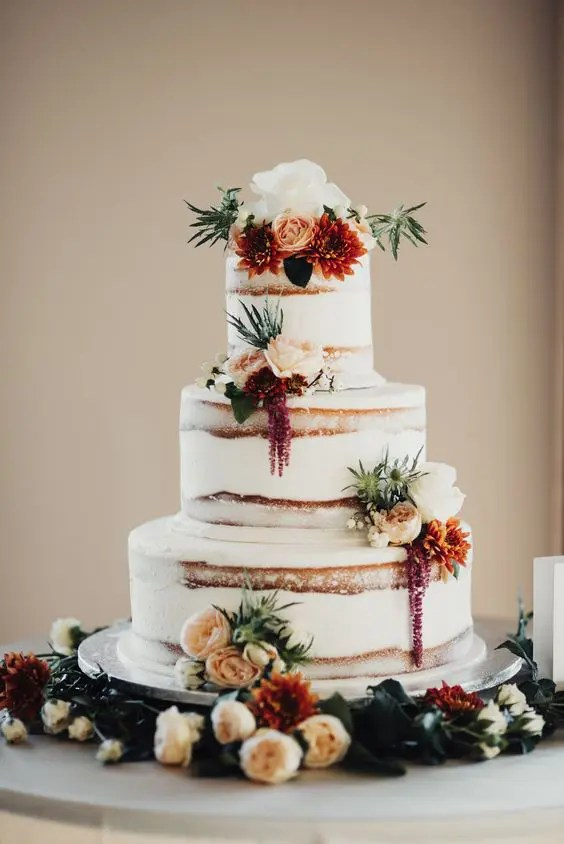 Picture Of Semi Naked Wedding Cake With Burgundy And