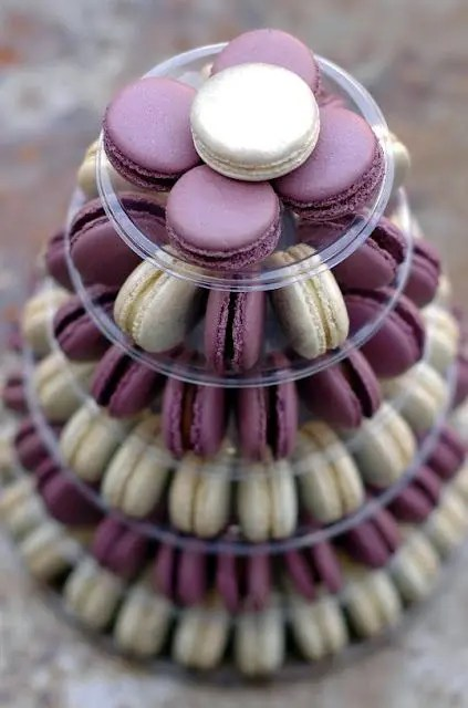 purple and cream macaron tower for your wedding