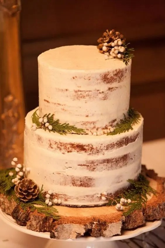 a simple semi naked wedding cake topped with pinecones, ferns and berries for a rustic winter wedding
