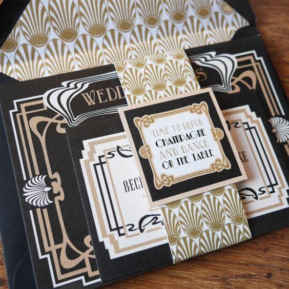 30 Bold Art Deco Wedding Stationary Ideas - Weddingomania