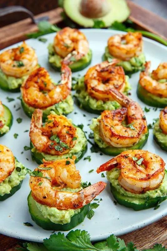 blackened shrimp avocado bites with fresh greenery is a healthy and tasty idea