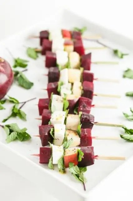 winter Caprese skewers with apples, red beets, and mint is a fresh way to serve the root veggie