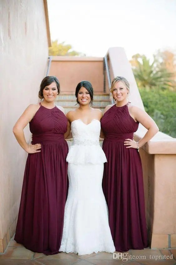 elegant halter neckline plus size burgundy bridesmaids' maxi dresses with a waist accent