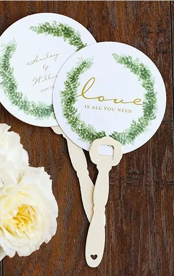 personalized printed hand fans will remind the guests of your wedding and they look super cute