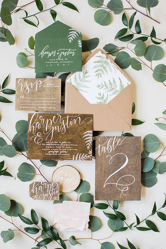 a rustic wedding invitation suite made of recycled paper completely can be catchy and cool