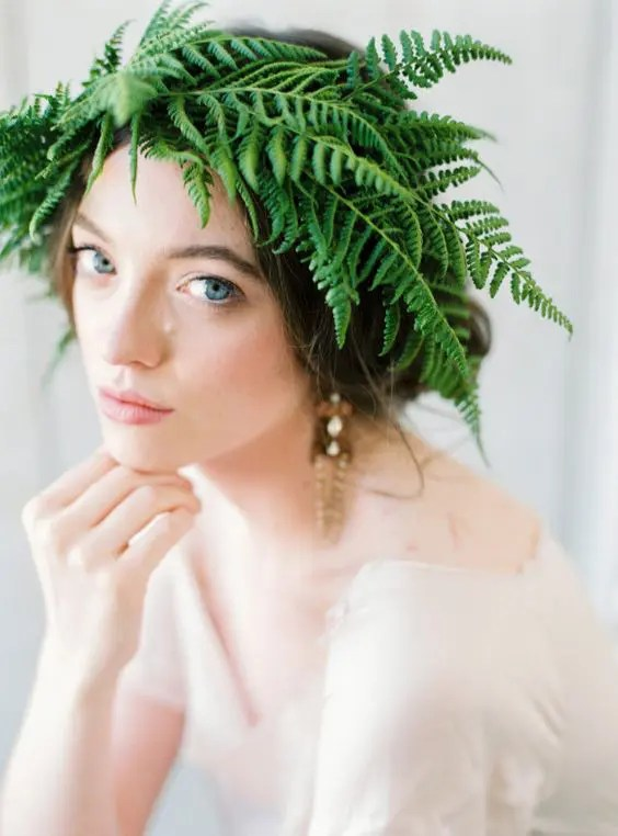 a lush fern bridal crown is a unique idea and a fresh take on traditional floral crowns for brides