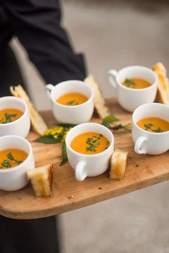creamy warm tomato soup with toasts is a great and warming up appetizer