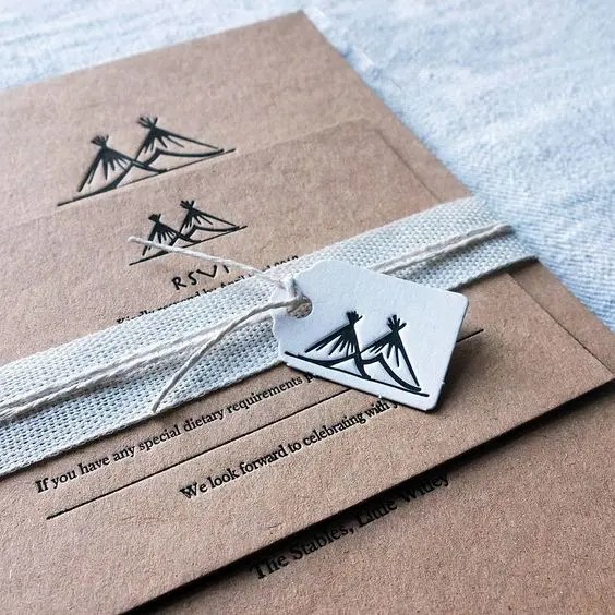 personalized letterpressed wedding invitations to a woodland boho wedding