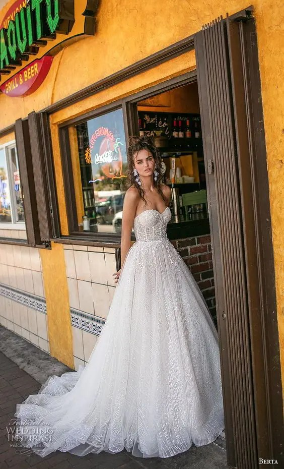 dce53d6b2 strapless A-line wedding gown with lace and a touch of sparkle
